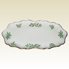 "Lenox Bone China Holiday ""Holly Berry"" Candy or SnackTray- Made in USA"