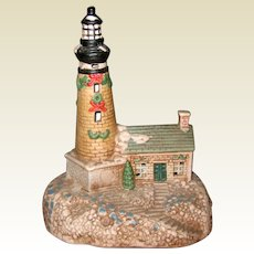 Ceramic Brown Holiday Lighthouse - Nightlight or Decoration