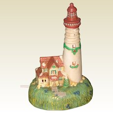 Ceramic Holiday Lighthouse with Red Roof - Nightlight or Decoration