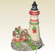Ceramic Holiday Lighthouse with Black Roof - Nightlight or Decoration