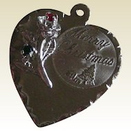 Sterling Merry Christmas Heart Pendant with Rose, Green and Red Rhinestones