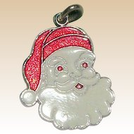 Red and White Sterling Santa Claus Charm