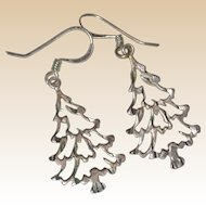 Sterling Silver Cut-Out Christmas Tree Earrings