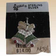 Beau Sterling Enamel Christmas Bells Charm on Original Card