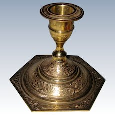 Brass Candle Holder with Etched Design and Hexagonal Base