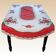 "Oval Christmas Tablecloth with Scalloped Edge  84"" x 60"""