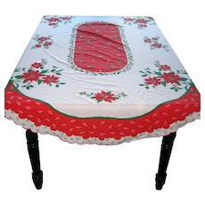 """Oval Christmas Tablecloth with Scalloped Edge  84"""" x 60"""""""