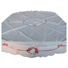 "Embroidered Christmas Rose Tablecloth - 64"" Round"