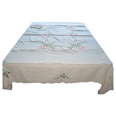 "Embroidered Christmas Tablecloth with Holly  - 64"" x 80"""