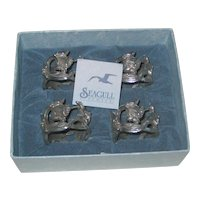 Set of Four Pewter Daffodil Napkin Rings in the Original Box- Made in Canada, 1988 by Seagull Pewter
