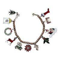 Sterling Silver Enamelled Christmas Charm Bracelet with Eleven Holiday Charms