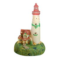 Ceramic White Holiday Lighthouse - Nightlight or Decoration