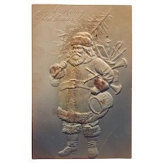 Unused Embossed Santa Christmas Postcard with Glitter - Undivided Back, Circa 1901 - 1907