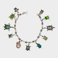 Sterling Silver Turtle Charm Bracelet with Enamel and Rhinestones