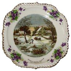 Currier & Ives Souvenir Plate - Horse & Buggy Museum, Gettysburg, PA - Violets