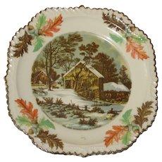 Currier & Ives Souvenir Plate - The Old Homestead in Winter - Oak Leaf Border