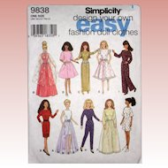 "Uncut Pattern for 11 1/2"" Fashion Doll Clothes - Simplicity 9838"