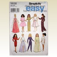 """Uncut Pattern for 11 1/2"""" Fashion Doll Clothes - Simplicity 9838"""