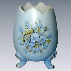 Blue Porcelain Egg Vase with Rose Floral Design