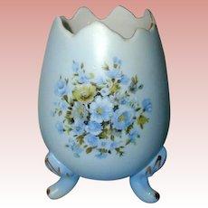 Blue Porcelain Egg Vase with Rose Floral Design