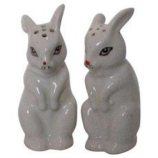 Porcelain Bunny Salt and Pepper Shakers - 1950's Japan