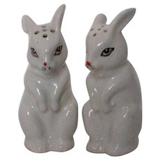 Porcelain Bunny Salt and Pepper Shakers - 1950's Japan