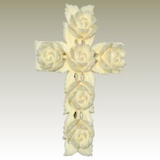 Hand Carved French Ivory (Celluloid) Cross Pin with Roses