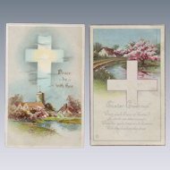 Two Vintage Easter Postcards with Crosses - Early 1900's