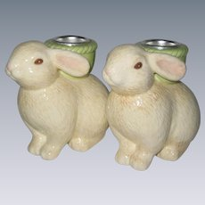 Hallmark Easter Bunny Candleholders - Unused in Box