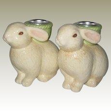 Hallmark Easter Bunny Candleholders - Unused in Box