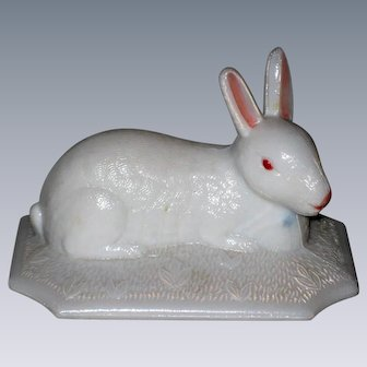 Westmoreland Glass White Easter Bunny Rabbit Dish- Top Only