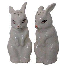 White Porcelain Easter Bunny Salt and Pepper Shakers