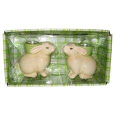 Hallmark 1991 Easter Bunny Ceramic Candleholders in Original Box