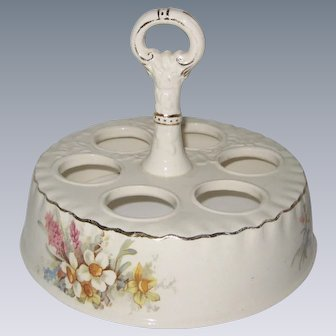 Antique Ceramic Egg Carrier or Holder with Daffodils - 1893