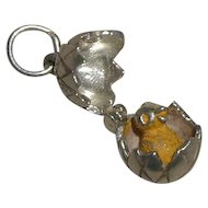 Vintage CHIM Easter Egg Mechanical Charm - Opens to Enameled Yellow Chick