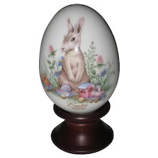 Noritake 2006 Hand Painted Bone China Porcelain Easter Egg -Easter Bunny with Toy Train