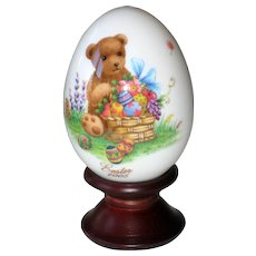 Noritake 2005 Hand Painted Bone China Porcelain Easter Egg - Teddy Bear with Easter Basket