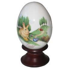 Noritake 2009 Hand Painted Bone China Porcelain Easter Egg - Bunny and Easter Eggs