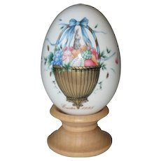 Noritake 1995 Hand Painted Bone China Porcelain Easter Egg - Golden Basket of Eggs