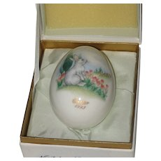 Noritake 1975 Bone China Easter Egg - Bunny with Clouds and Tulips