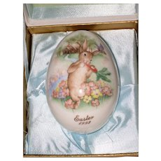 Noritake 1992 Hand Painted Bone China Porcelain Easter Egg - Bunny with Carrot