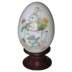 Noritake 2000 Hand Painted Bone China Porcelain Easter Egg - Bunny in a Tea Cup