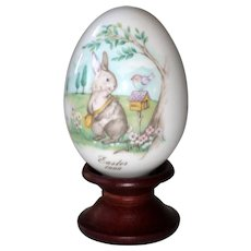 Noritake 1999 Hand Painted Bone China Porcelain Easter Egg - Bunny at the Mailbox