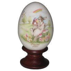 Noritake 2001 Hand Painted Bone China Porcelain Easter Egg - Bunny with Basket of Eggs