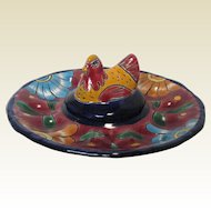 Vintage Mexican Talavera Pottery Egg Dish with Chicken