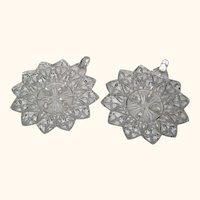 Pair of 12 Point Star Shaped Glass Candleholders for Votive or Pillar Candles