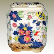Royal Crown Arnart Japan 1950's Ceramic Pottery Tea Canister with Bright Flowers