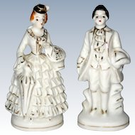 Pair of Petite Occupied Japan Porcelain Figurines - White with Gilt Trim