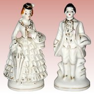 Pair of Petite Occupied Japan Porcelain Figurines - White with Gilt Trim