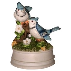 Global Arts Porcelain Music Box with Blue Jay Birds - Beautiful Morning